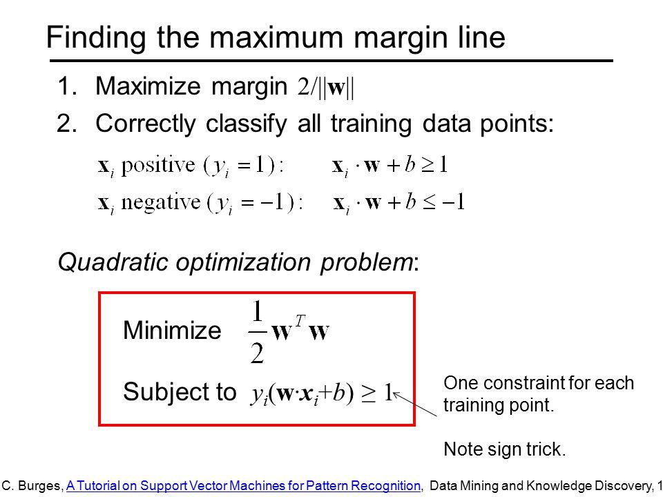 Finding the maximum margin line 1.Maximize margin 2/||w|| 2.Correctly classify all training data points: Quadratic optimization problem: Minimize Subject to y i (w·x i +b) ≥ 1 C.