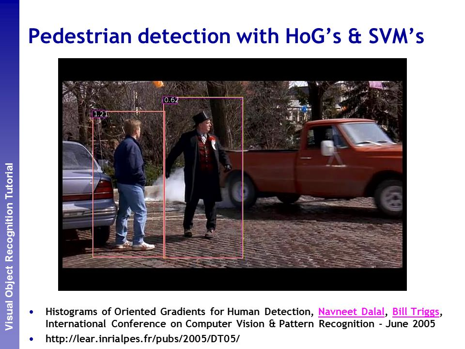 Perceptual and Sensory Augmented Computing Visual Object Recognition Tutorial Pedestrian detection with HoG's & SVM's Histograms of Oriented Gradients for Human Detection, Navneet Dalal, Bill Triggs, International Conference on Computer Vision & Pattern Recognition - June 2005Navneet DalalBill Triggs http://lear.inrialpes.fr/pubs/2005/DT05/