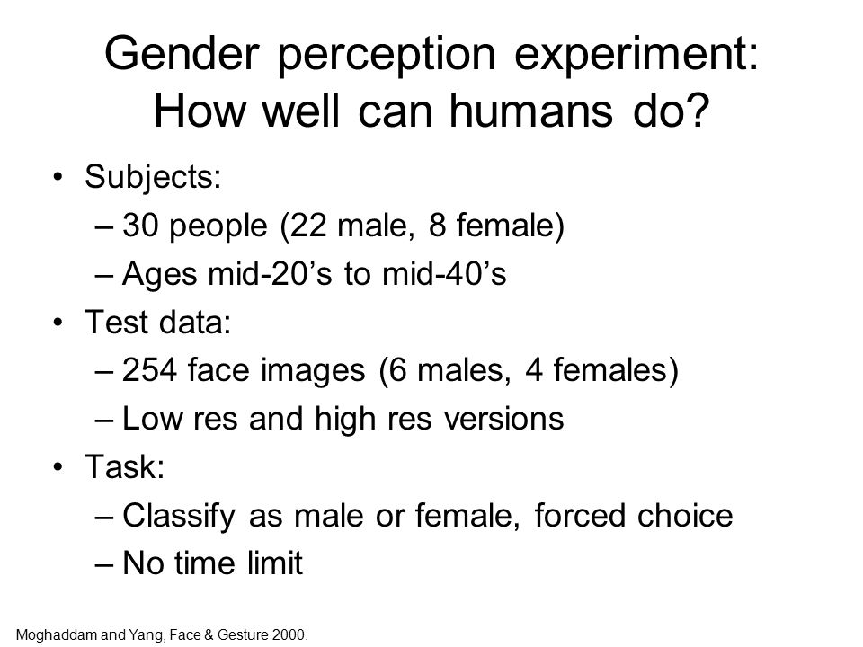 Gender perception experiment: How well can humans do.