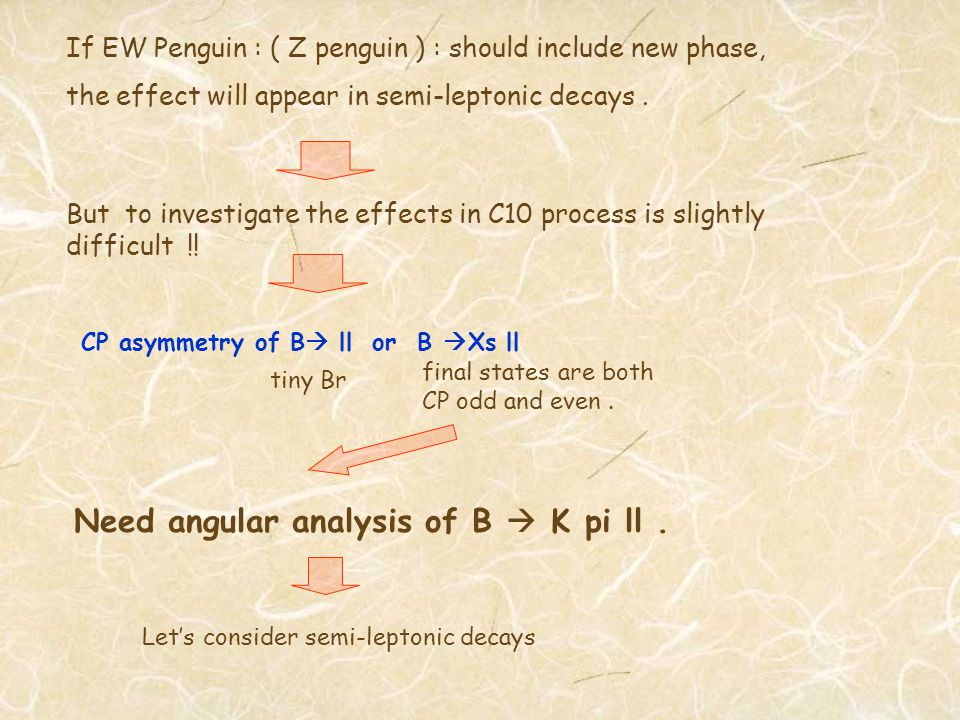 If EW Penguin : ( Z penguin ) : should include new phase, the effect will appear in semi-leptonic decays.