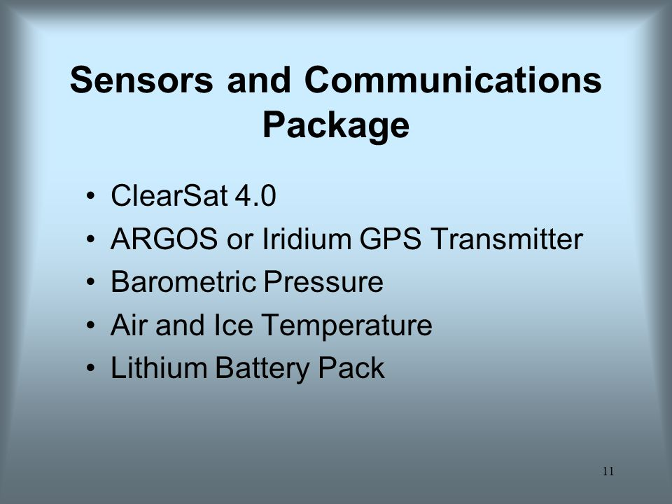11 Sensors and Communications Package ClearSat 4.0 ARGOS or Iridium GPS Transmitter Barometric Pressure Air and Ice Temperature Lithium Battery Pack