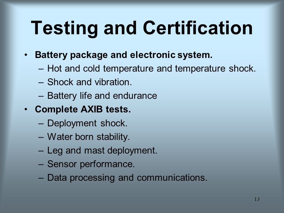 13 Testing and Certification Battery package and electronic system.