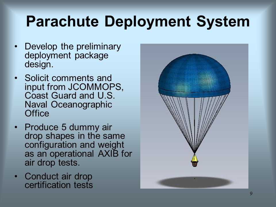 9 Parachute Deployment System Develop the preliminary deployment package design.