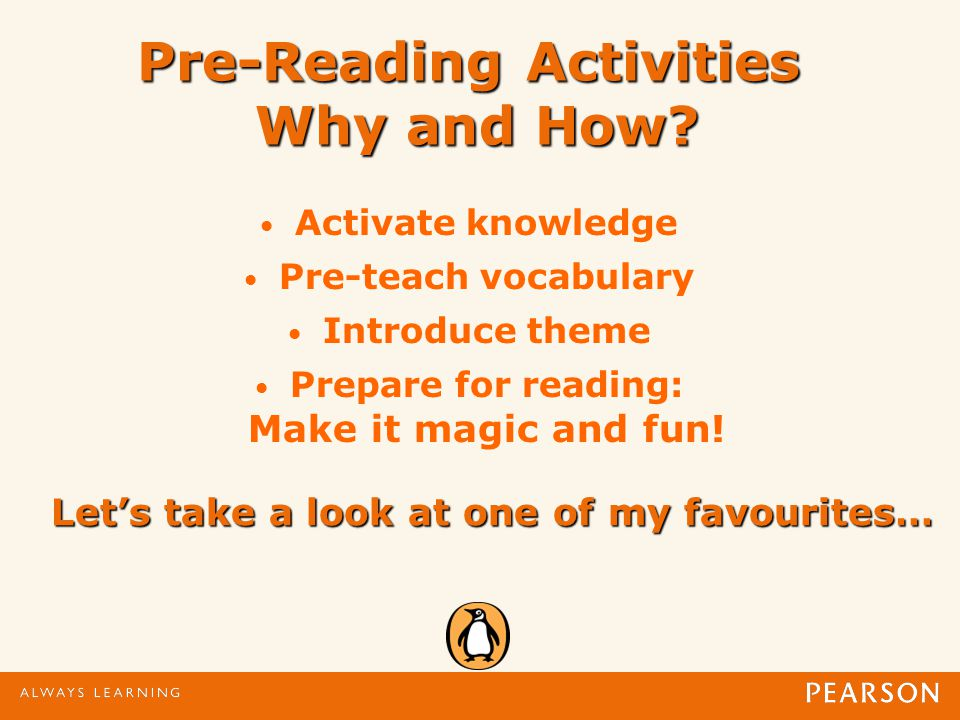 Pre-Reading Activities Why and How.