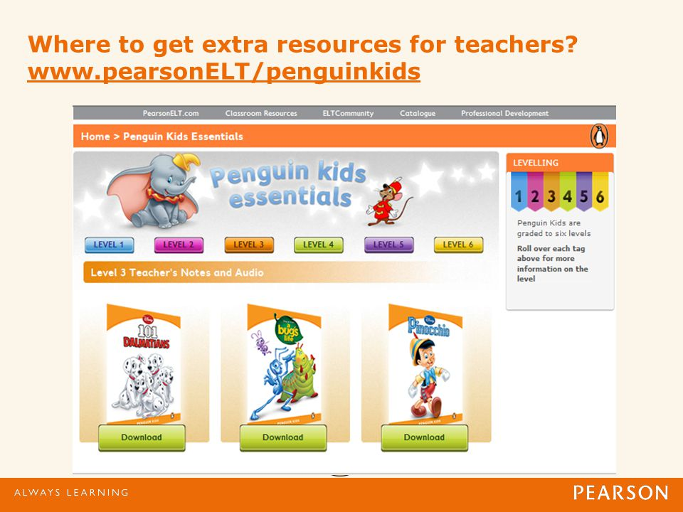 Where to get extra resources for teachers www.pearsonELT/penguinkids www.pearsonELT/penguinkids
