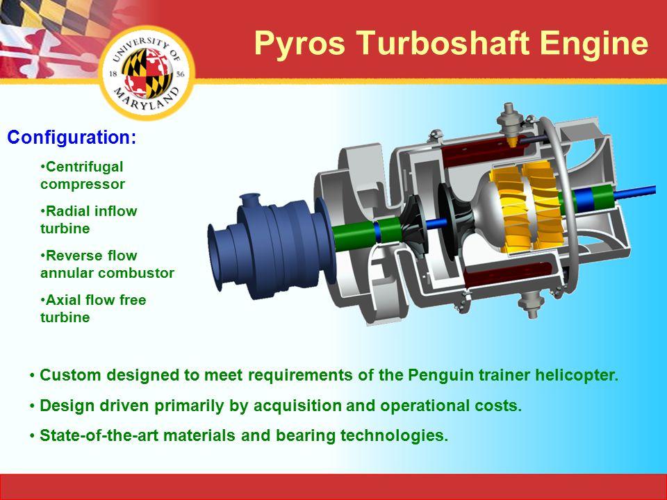Power: 125 hp (93.21 kW ) Gas generator speed: 100,000 RPM Power turbine speed: 75,000 RPM Mass flow: 1.12 lb/s (0.51 kg/s ) Engine performance at design point (6000ft,ISA+20 0 C): Fuel consumption: 11.6 gal/hr (0.04 m 3 /hr ) Turbine inlet temp.: 1790 F (1250 K ) Compressor pressure ratio: 7 SFC: 0.625 lb/hp-hr (0.381 kg/kW-hr ) Comparison of power plants at sea-level & ISA EngineBoeing 502-6 Solar T62T-32 Pyros Power(hp)160 165 SFC (lb/hp-hr) 1.51.40.61 Weight (lb.)200143125 Power/ Weight 0.81.121.32 Lower SFC and higher Power to Weight Ratio Pyros Turboshaft Engine