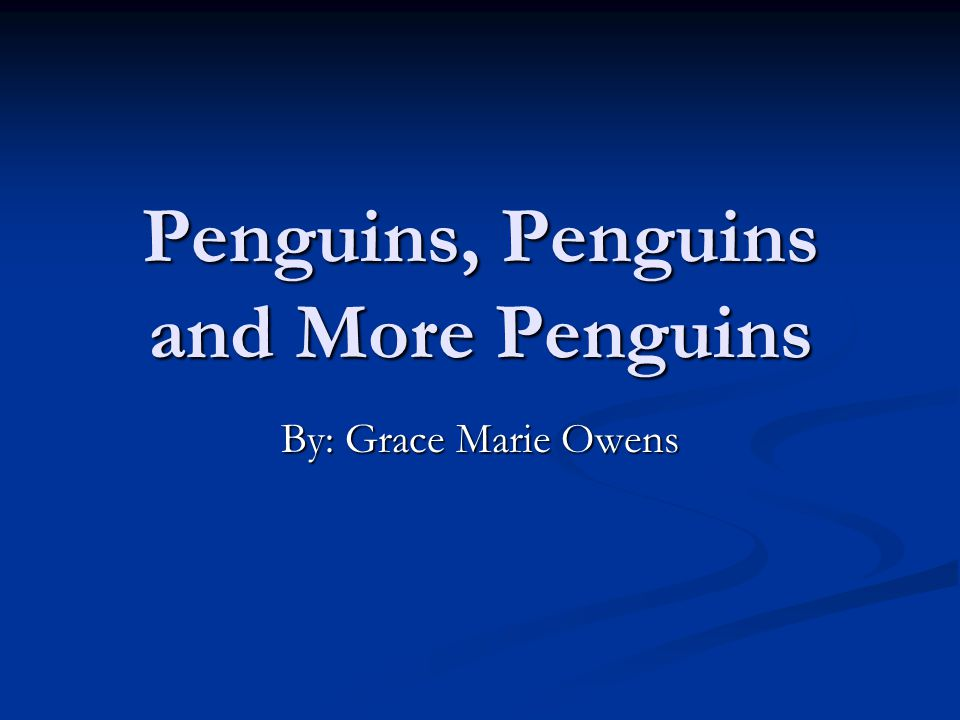 Penguins, Penguins and More Penguins By: Grace Marie Owens