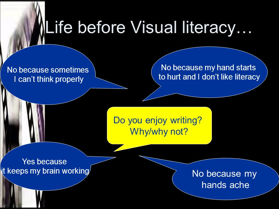 Life AFTER Visual literacy… Yes, because I am a good writer Yes, it helps you get better at writing Do you enjoy writing.