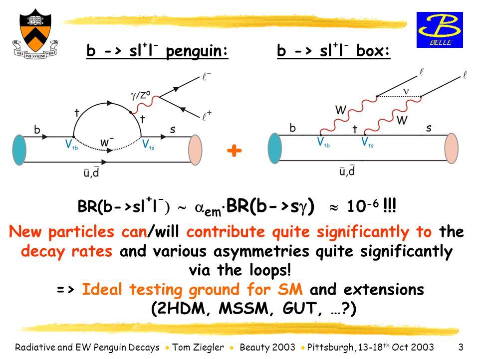 Radiative and EW Penguin Decays  Tom Ziegler  Beauty 2003  Pittsburgh, 13-18 th Oct 2003 4 The KEK-B collider 3.5 GeV e + on 8 GeV e - L > (1.0 x 10 34 )/cm 2 /sec  L dt = 158 fb -1 140 fb -1 on resonance.