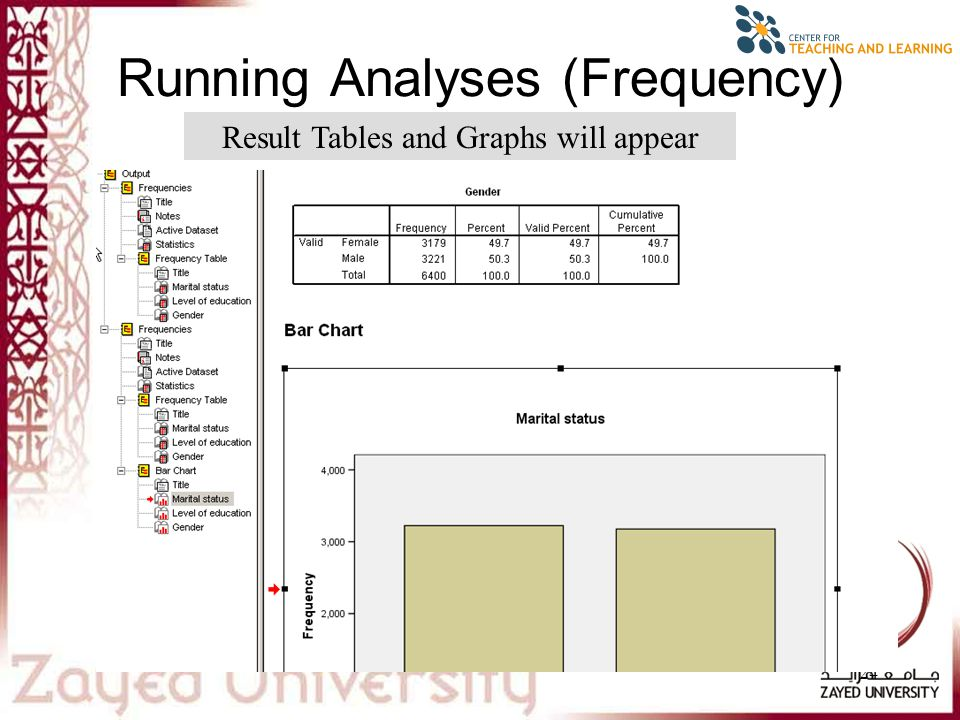 24 Running Analyses (Frequency) Result Tables and Graphs will appear