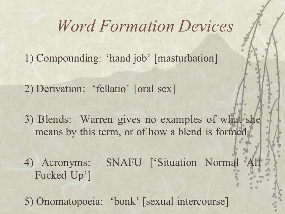 Word Formation Devices 1) Compounding: 'hand job' [masturbation] 2) Derivation: 'fellatio' [oral sex] 3) Blends: Warren gives no examples of what she