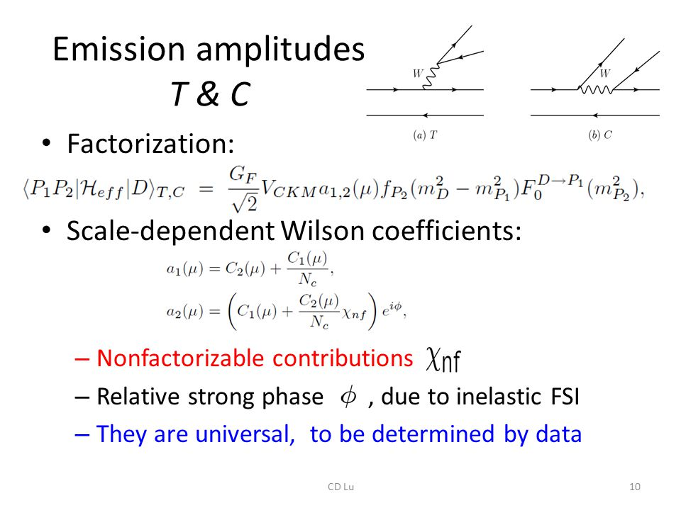 Emission amplitudes T & C Factorization: Scale-dependent Wilson coefficients: – Nonfactorizable contributions – Relative strong phase, due to inelastic FSI – They are universal, to be determined by data 10CD Lu