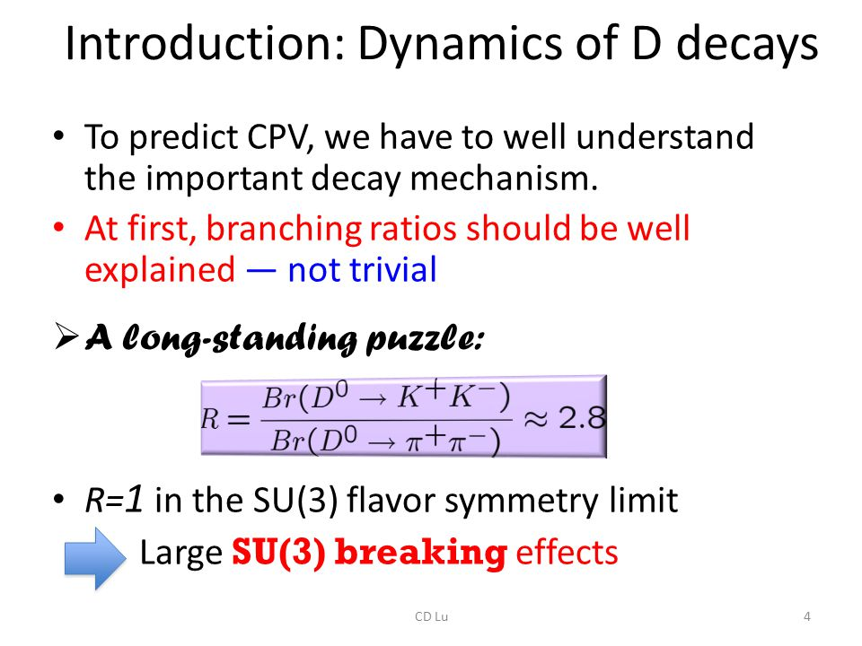 Introduction: Dynamics of D decays To predict CPV, we have to well understand the important decay mechanism. At first, branching ratios should be well