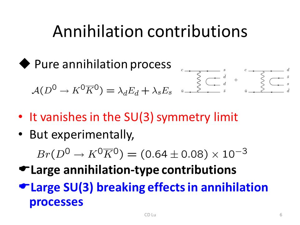 Annihilation contributions  Pure annihilation process It vanishes in the SU(3) symmetry limit But experimentally,  Large annihilation-type contribut
