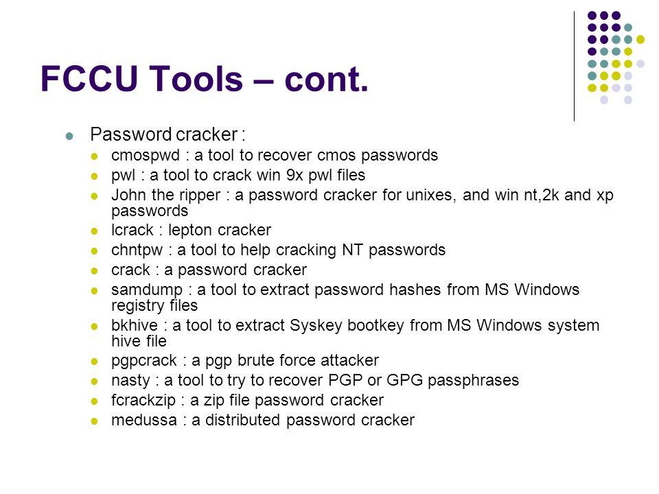 FCCU Tools – cont.