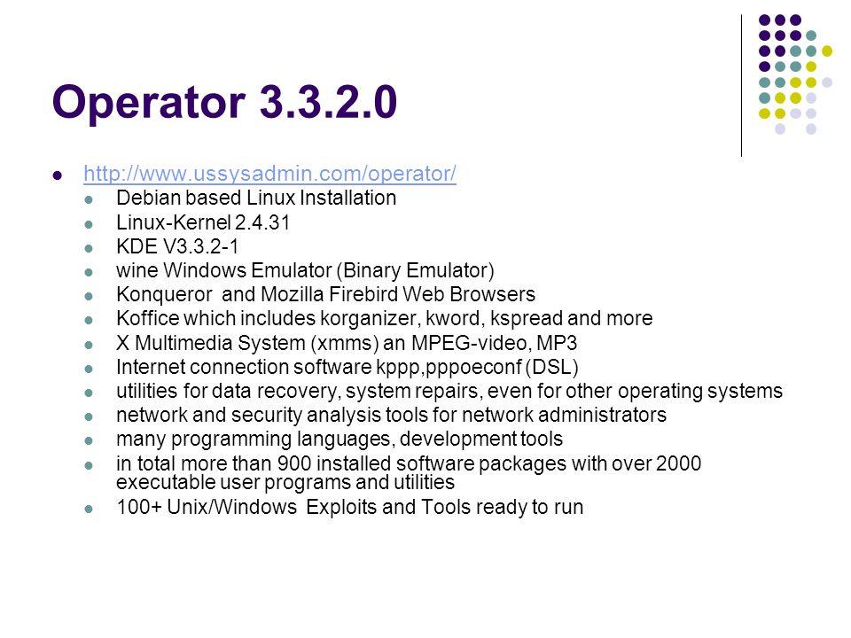 Operator 3.3.2.0 http://www.ussysadmin.com/operator/ Debian based Linux Installation Linux-Kernel 2.4.31 KDE V3.3.2-1 wine Windows Emulator (Binary Em