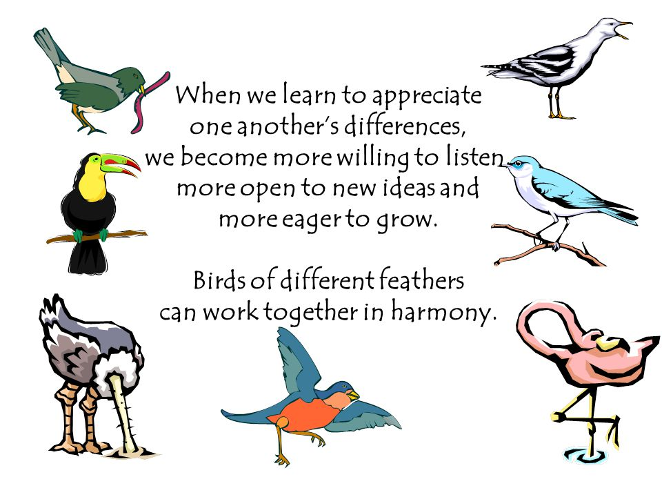 When we learn to appreciate one another's differences, we become more willing to listen, more open to new ideas and more eager to grow.