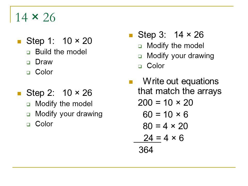 14 × 26 Step 1: 10 × 20  Build the model  Draw  Color Step 2: 10 × 26  Modify the model  Modify your drawing  Color Step 3: 14 × 26  Modify the