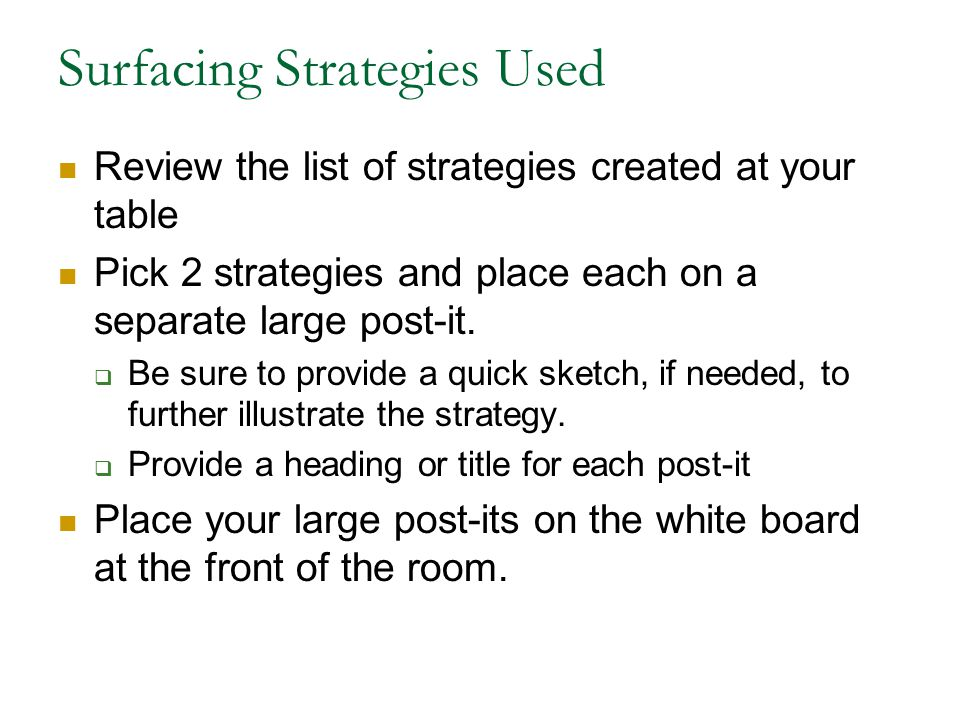 Surfacing Strategies Used Review the list of strategies created at your table Pick 2 strategies and place each on a separate large post-it.