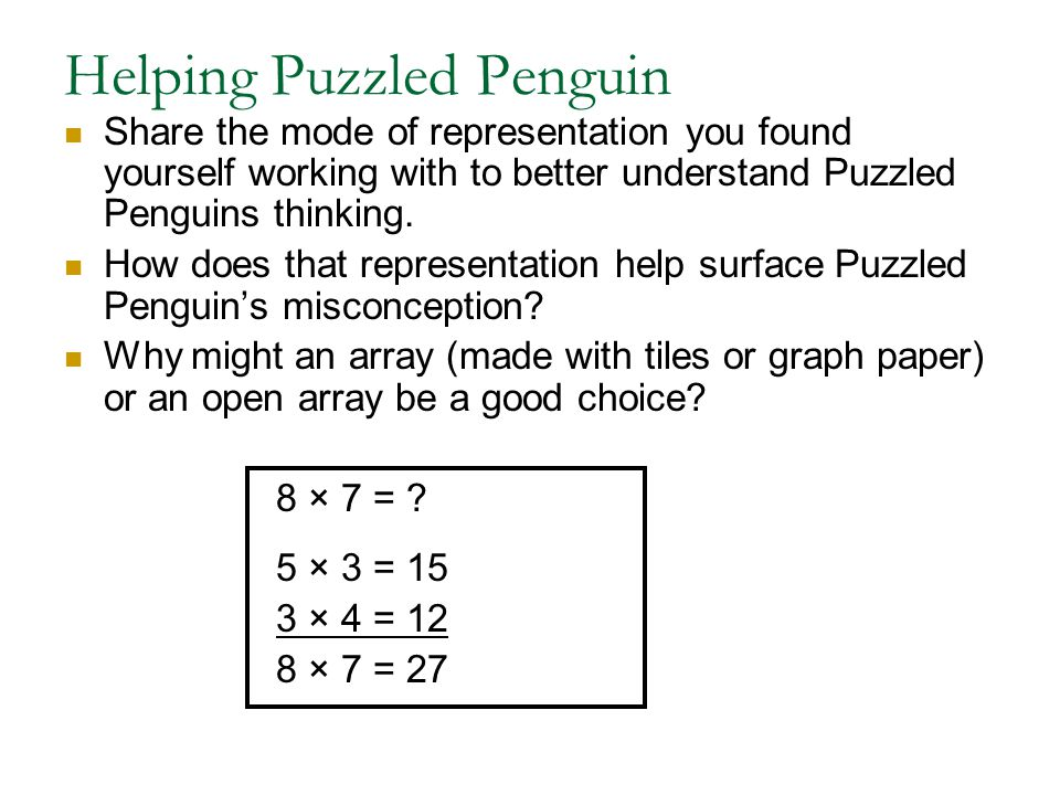 Helping Puzzled Penguin Share the mode of representation you found yourself working with to better understand Puzzled Penguins thinking. How does that