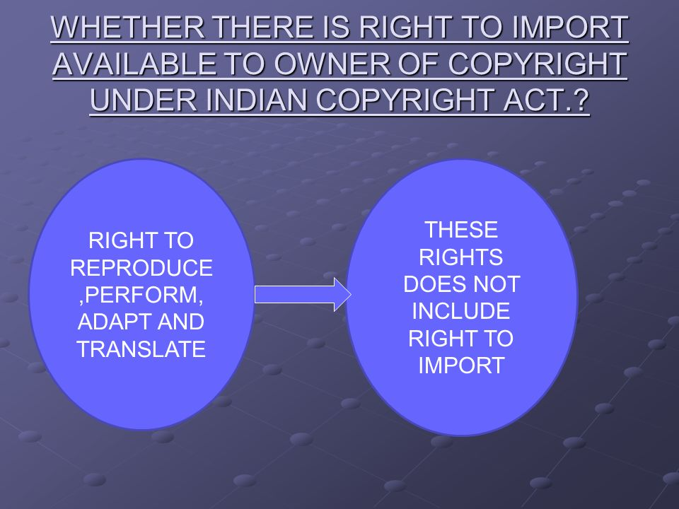 IMPORTATION RIGHT UNDER INDIAN COPYRIGHT ACT,1957  Section 53 prohibits importation of infringing copies  This implies importation of legitimate works is allowed.