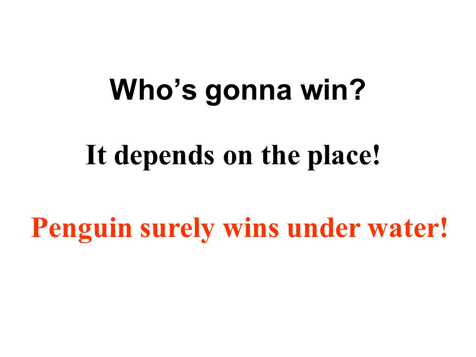 Who's gonna win It depends on the place! Penguin surely wins under water!