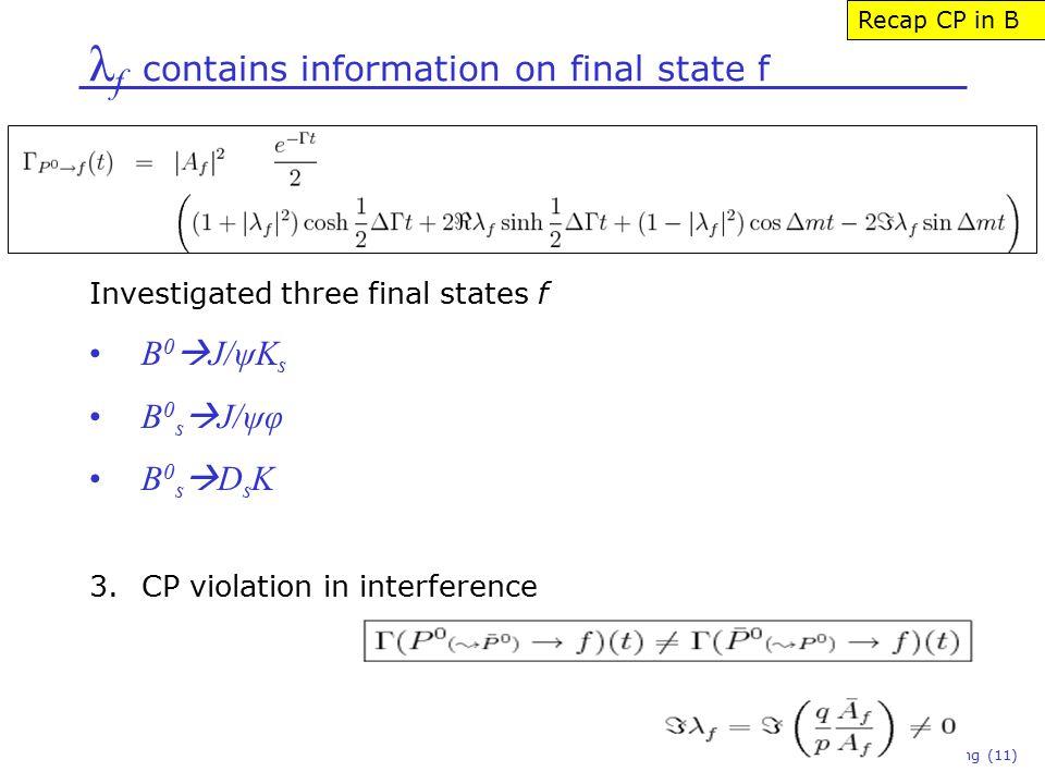 λ f contains information on final state f Niels Tuning (11) Recap CP in B Investigated three final states f B 0  J/ψK s B 0 s  J/ψφ B 0 s  D s K 3.CP violation in interference