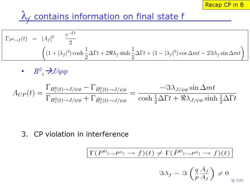 λ f contains information on final state f Niels Tuning (12) B 0 s  J/ψφ 3.CP violation in interference Recap CP in B