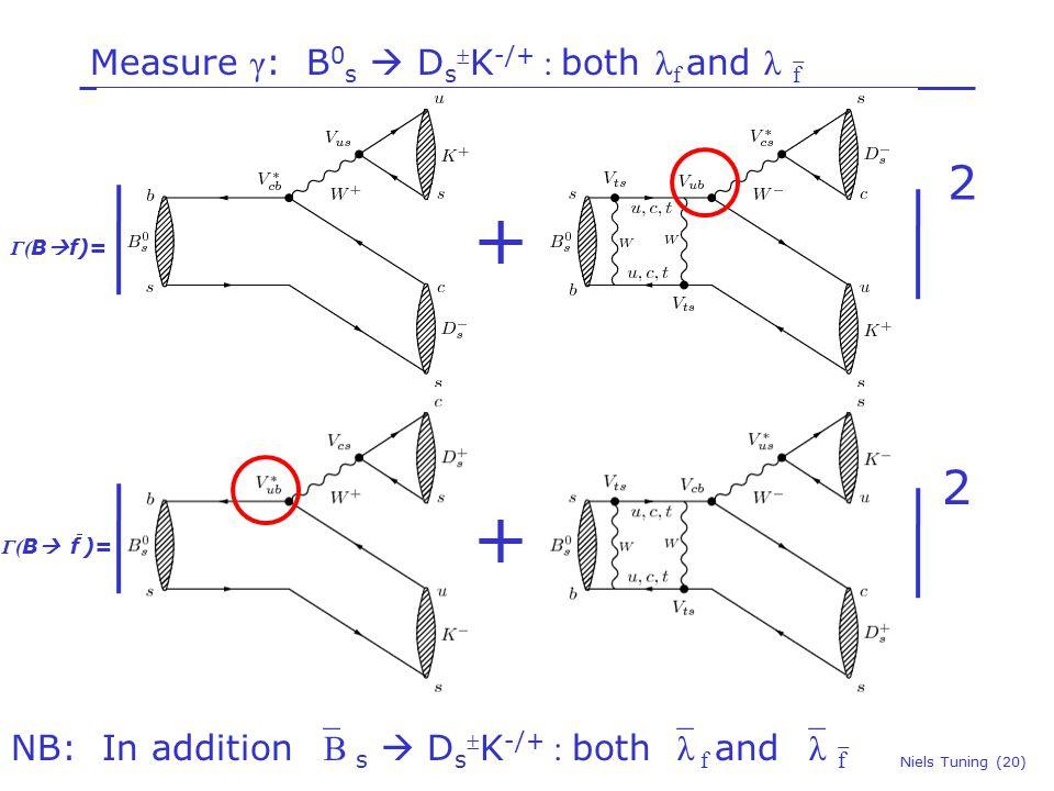 Measure γ : B 0 s  D s  K -/+ : both λ f and λ  f Niels Tuning (20) NB: In addition  B s  D s  K -/+ : both  λ f and  λ  f + Γ( B  f)= + Γ( B  f )= 2 2