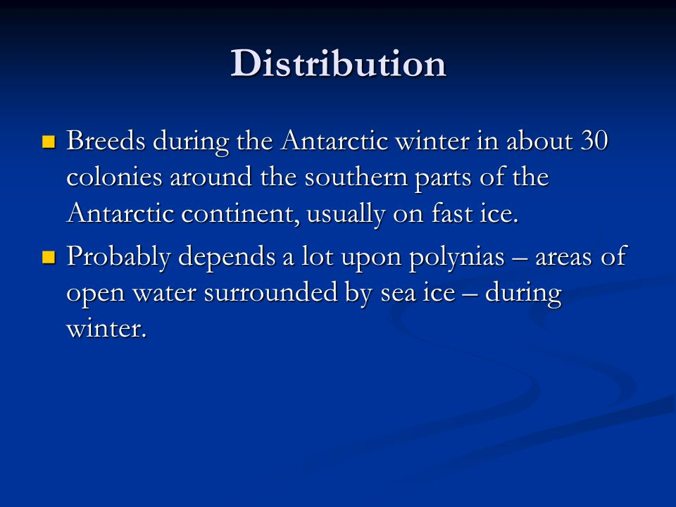 Distribution Breeds during the Antarctic winter in about 30 colonies around the southern parts of the Antarctic continent, usually on fast ice.