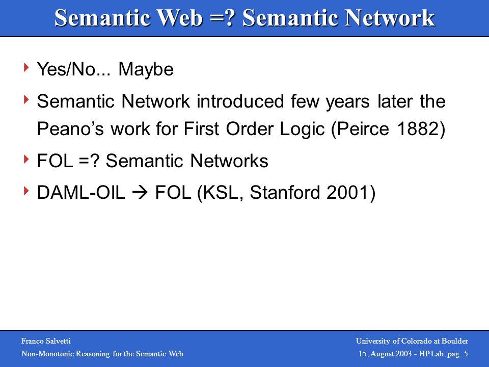 Bertino, Provetti & Salvetti, AGP03 Franco Salvetti Non-Monotonic Reasoning for the Semantic Web University of Colorado at Boulder 15, August 2003 - H