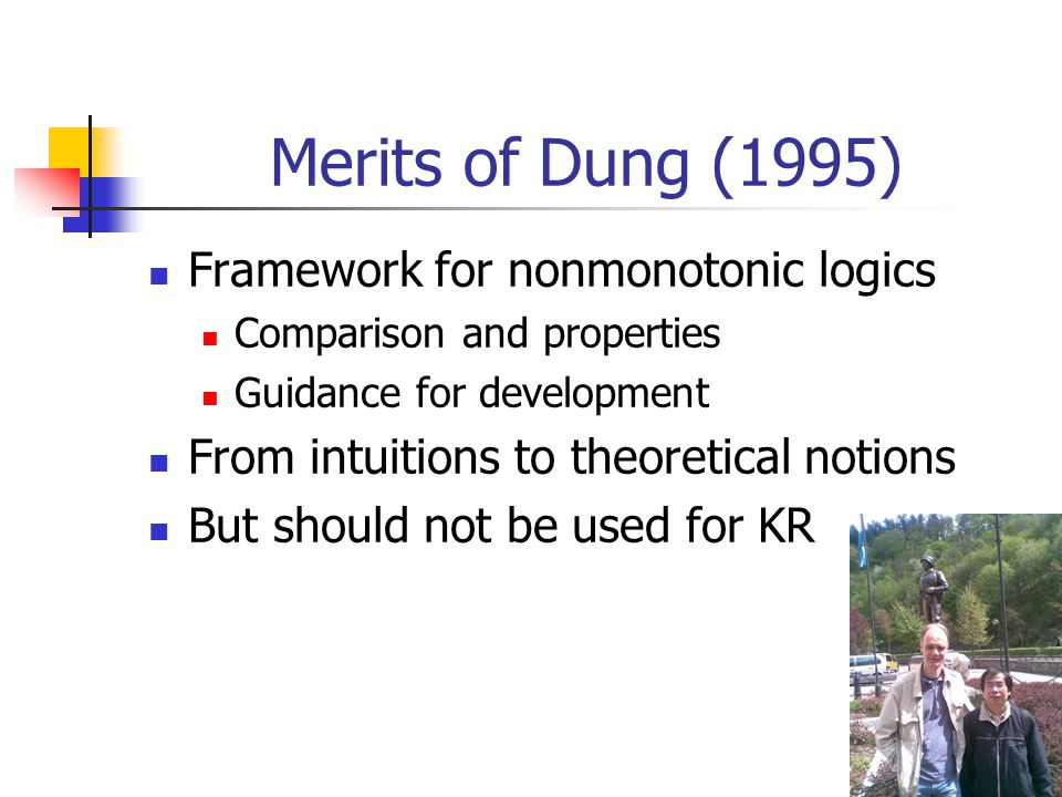 3 Merits of Dung (1995) Framework for nonmonotonic logics Comparison and properties Guidance for development From intuitions to theoretical notions Bu