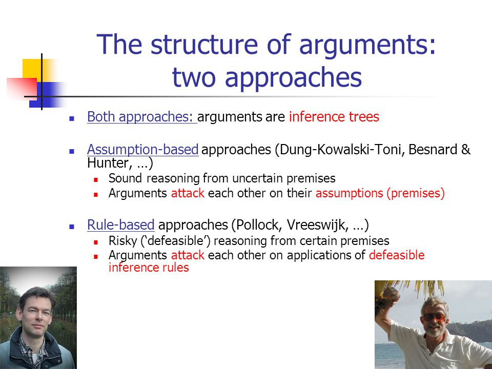 4 The structure of arguments: two approaches Both approaches: arguments are inference trees Assumption-based approaches (Dung-Kowalski-Toni, Besnard & Hunter, …) Sound reasoning from uncertain premises Arguments attack each other on their assumptions (premises) Rule-based approaches (Pollock, Vreeswijk, …) Risky ('defeasible') reasoning from certain premises Arguments attack each other on applications of defeasible inference rules