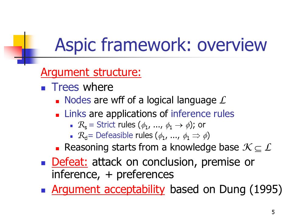 5 Aspic framework: overview Argument structure: Trees where Nodes are wff of a logical language L Links are applications of inference rules R s = Stri