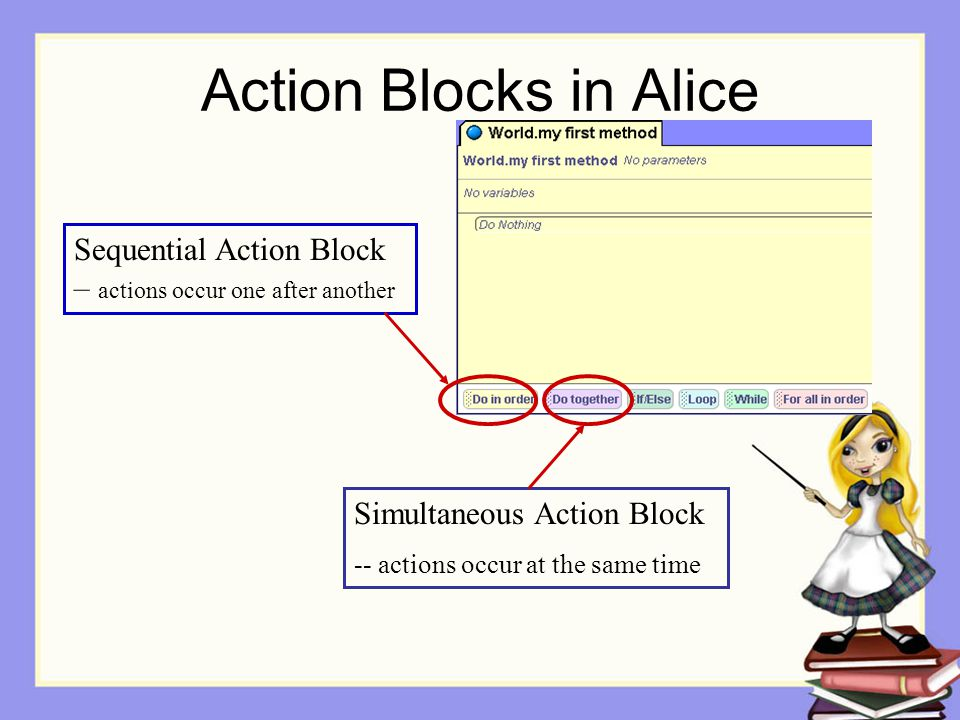 Action Blocks in Alice Sequential Action Block – actions occur one after another Simultaneous Action Block -- actions occur at the same time