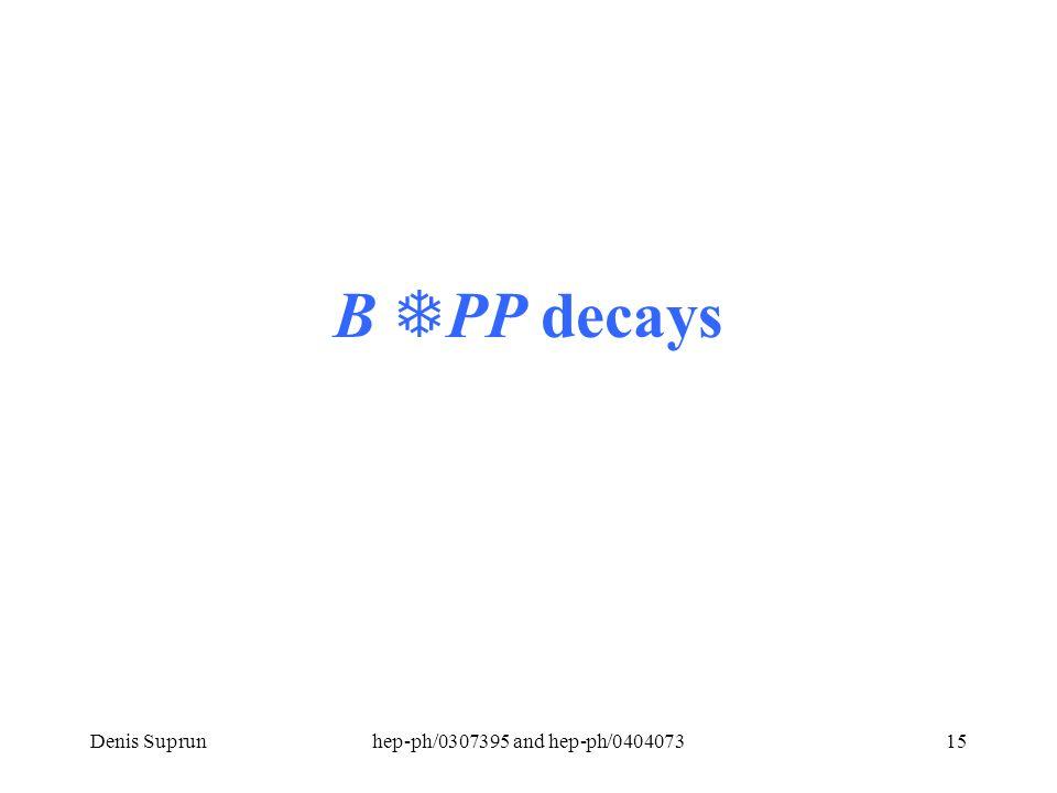 Denis Suprunhep-ph/0307395 and hep-ph/040407315 B  PP decays
