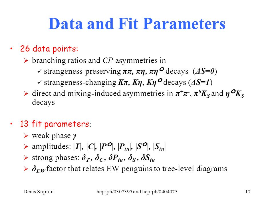 Denis Suprunhep-ph/0307395 and hep-ph/040407317 Data and Fit Parameters 26 data points:  branching ratios and CP asymmetries in strangeness-preserving ππ, πη, πη decays (ΔS=0) strangeness-changing Kπ, Kη, Kη decays (ΔS=1)  direct and mixing-induced asymmetries in π + π -, π 0 K S and ηK S decays 13 fit parameters :  weak phase γ  amplitudes: |T|, |C|, |P|, |P tu |, |S|, |S tu |  strong phases: δ T, δ C, δP tu, δ S, δS tu  δ EW factor that relates EW penguins to tree-level diagrams