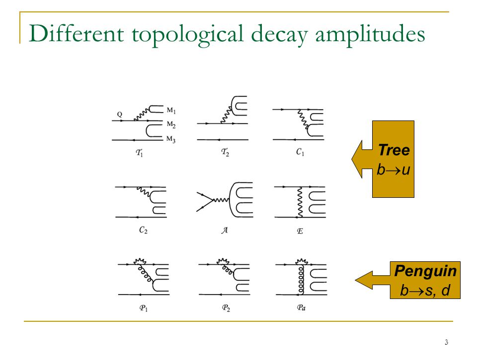 3 Different topological decay amplitudes Tree b  u Penguin b  s, d