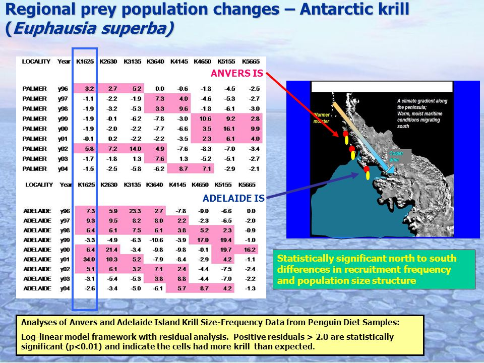 ANVERS IS Analyses of Anvers and Adelaide Island Krill Size-Frequency Data from Penguin Diet Samples: Log-linear model framework with residual analysis.
