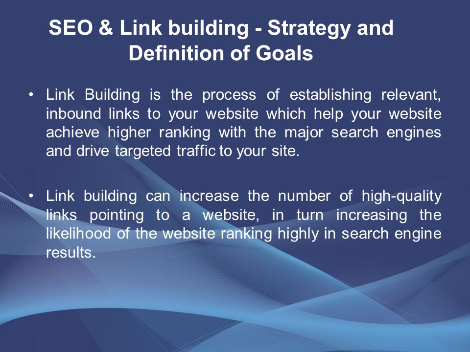 Link Building is the process of establishing relevant, inbound links to your website which help your website achieve higher ranking with the major search engines and drive targeted traffic to your site.