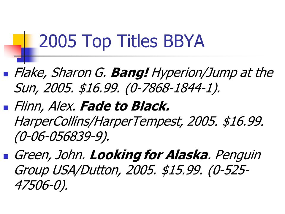 2005 Top Titles BBYA Castellucci, Cecil. Boy Proof.