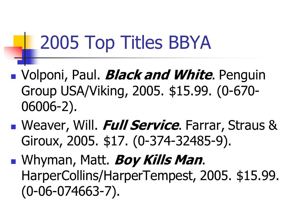 2005 Top Titles BBYA Pearson, Mary E. A Room on Lorelei Street.