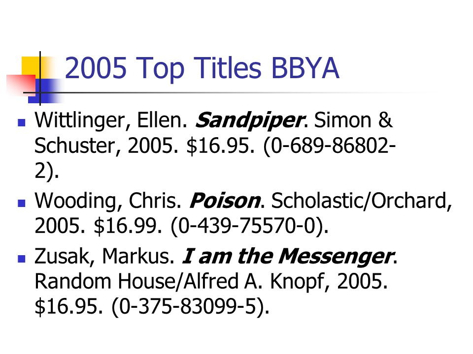 2005 Top Titles BBYA Volponi, Paul. Black and White.