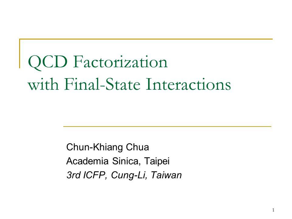 1 QCD Factorization with Final-State Interactions Chun-Khiang Chua Academia Sinica, Taipei 3rd ICFP, Cung-Li, Taiwan