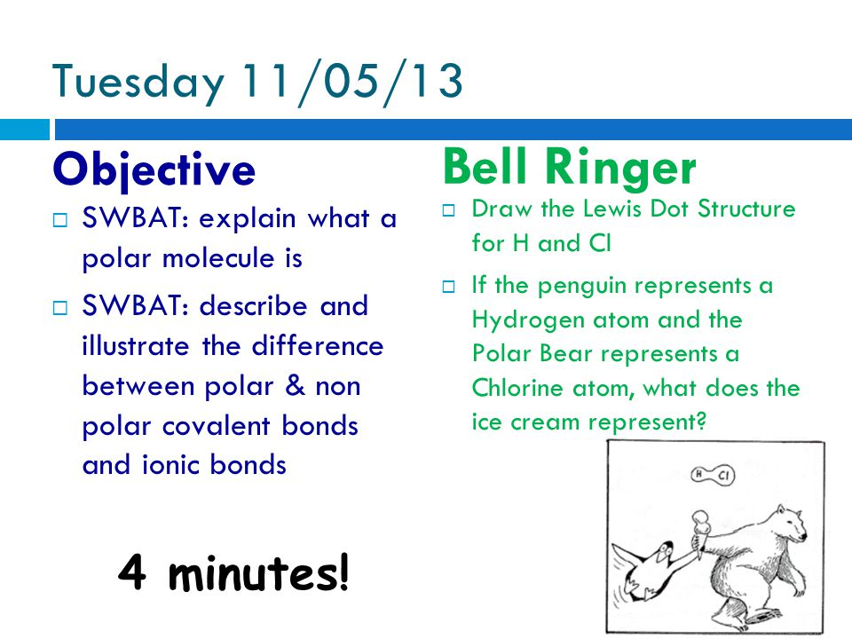 Tuesday 11/05/13 Objective  SWBAT: explain what a polar molecule is  SWBAT: describe and illustrate the difference between polar & non polar covalen