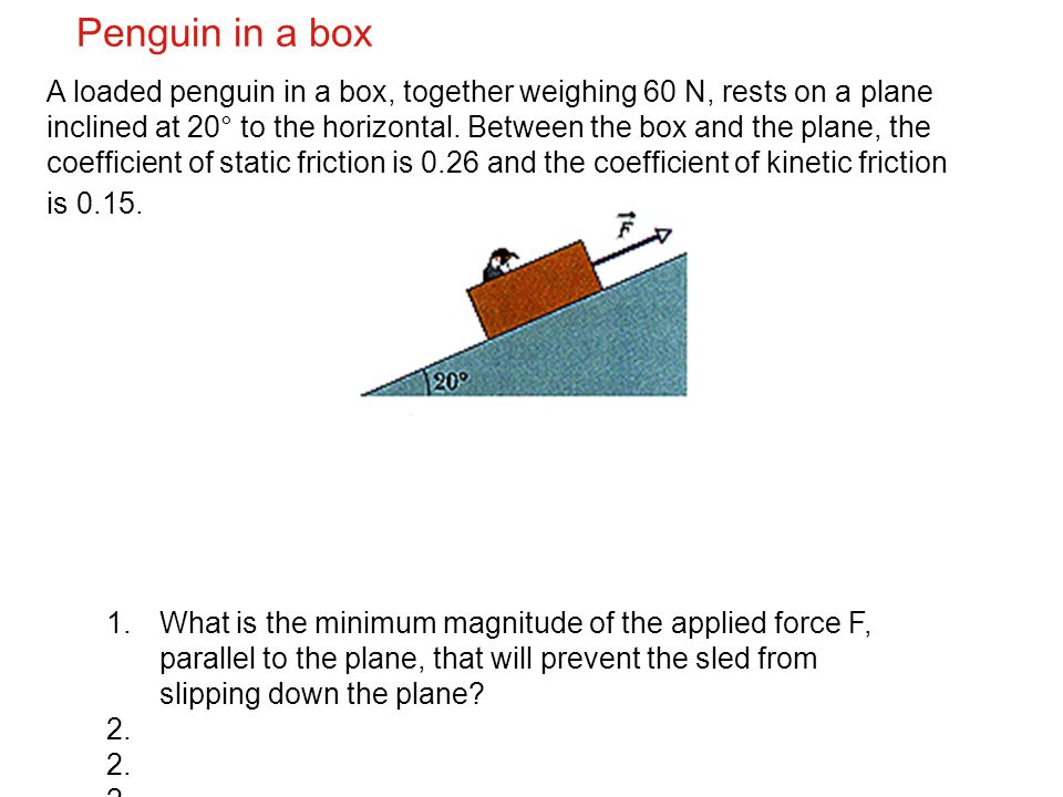 Penguin in a box A loaded penguin in a box, together weighing 60 N, rests on a plane inclined at 20° to the horizontal. Between the box and the plane,