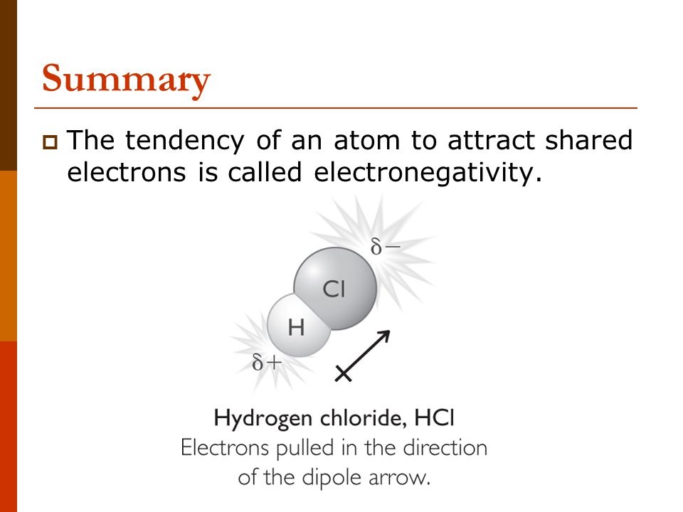 Summary  The tendency of an atom to attract shared electrons is called electronegativity.
