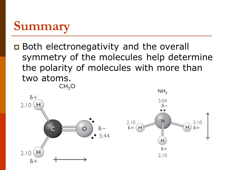  Both electronegativity and the overall symmetry of the molecules help determine the polarity of molecules with more than two atoms.