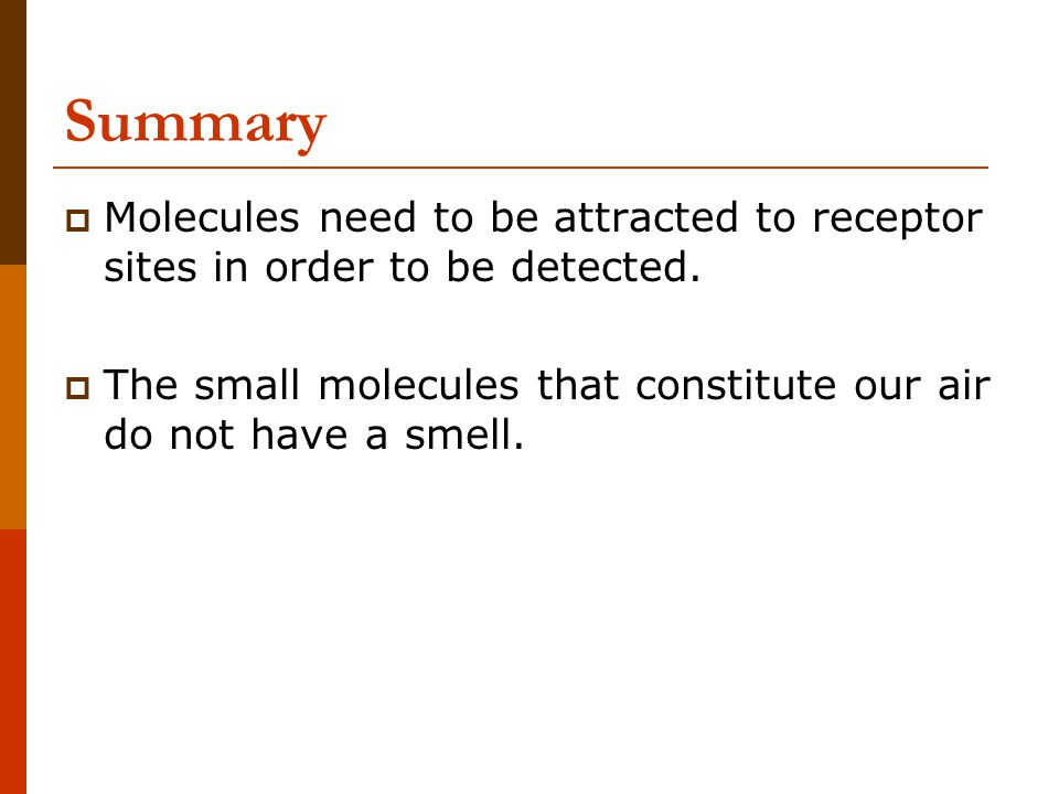 Summary  Molecules need to be attracted to receptor sites in order to be detected.  The small molecules that constitute our air do not have a smell.