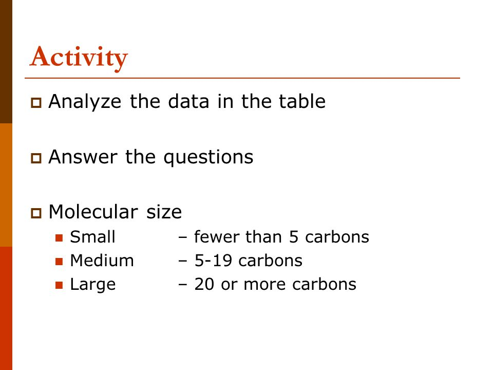 Activity  Analyze the data in the table  Answer the questions  Molecular size Small – fewer than 5 carbons Medium – 5-19 carbons Large– 20 or more